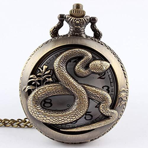 Moonlight Star Cadena del Collar del Reloj de Bolsillo de Bronce Antiguo Caballo Hueco Colgante de Cuarzo for Mujer Relojes for Hombre Regalos (Color : Snake)