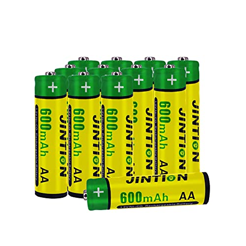 JINTION 12 Pack Rechargeable AA Batteries for Solar Lights Replacement NiCD AA 600mAh 1.2V Battery Solar AA Solar Batteries for Solar Lanterns Garden Lights