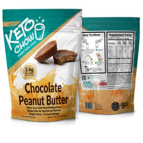 Keto Chow   Keto Meal Replacement Shake   Nutritionally Complete   Low Carb   Delicious Easy Meal Substitute   You Choose The Fat   Chocolate Peanut Butter   21 Meal Bulk Pack