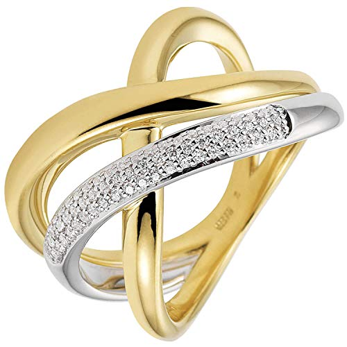 LetsBuyGold - Anello da donna trilogy in oro giallo 585, con 61 diamanti e Due ori, 58 (18.5), cod. 22635