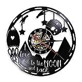 WERWN Te Amo a la Luna y Reloj de Pared Trasero Reloj de Pared Arte Moderno Reloj de Pared de Vinilo Pareja Amantes Regalo