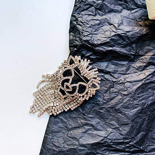 HUIJUNWENTI De Manera cristalino León broches de Diamantes de imitación Brillante de la Borla del Partido de la Broche de Mujeres Accesorios Traje Joyas Regalos (Metal Color : 1)