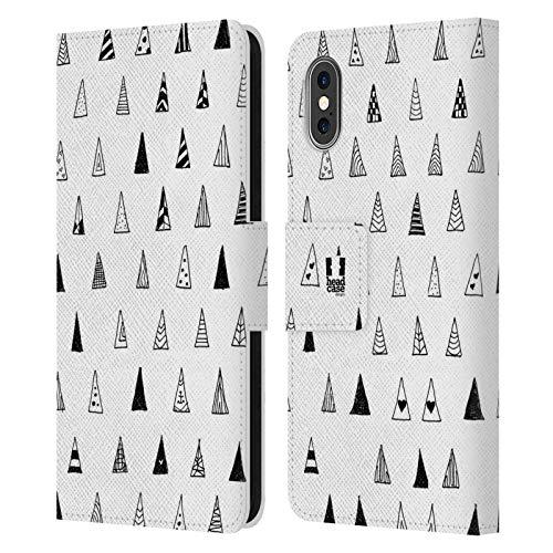 Head Case Designs Triángulo Modelos del Garabato Negros Y Blancos Carcasa de Cuero Tipo Libro Compatible con Apple iPhone X/iPhone XS