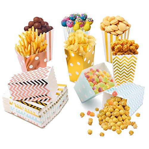 Scatole per Popcorn, 54Pcs Scatole di Popcorn Sacchetti Scatola Popcorn per Matrimonio Compleanno Contenitori di Caramelle per Spuntini del Partito, Dolci, Popcorn e Regali