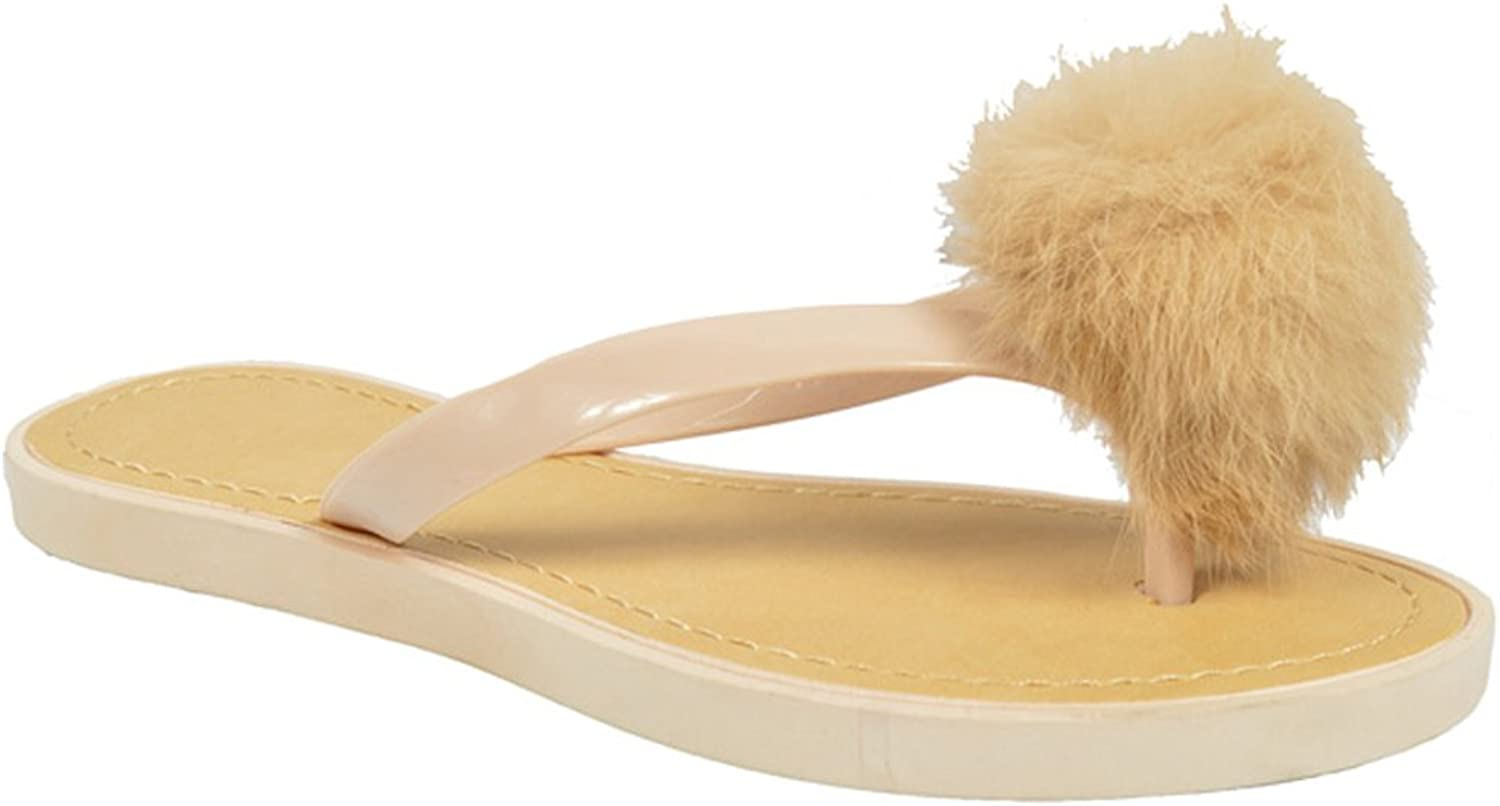 TravelNut Easter Special Sale Tory Fun Navy & Beige Jelly Flip Flop Sandal with Faux Fur Pom Pom for Women