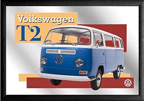empireposter Volkswagen T2 – afmetingen (cm), ca. 30x20 - Bedrukte spiegel, NIEUW - beschrijving: - Bedrukte wandspiegel met zwart kunststof frame in houtlook -