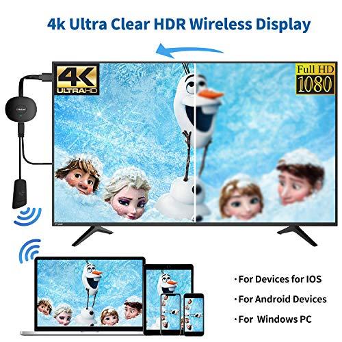 MPIO Wireless HDMI 4K Wi-Fi Display Dongle Adapter, Streaming Video Receiver für iPhone/iPad/IOS/Android/Windows/PC auf HD TV/Monitor/Projektor/Mac, Unterstützung Miracast Airplay DLNA,Schwarz