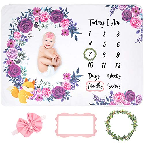 FriLife Baby Monthly Milestone Blanket - 300 GSM Thick - Milestone Blanket for Baby Girl, Includes Leaf Wreath, Headband & Felt Frame - Photo Blankets for Newborn Babies - Soft Flannel Fleece 60'x40'
