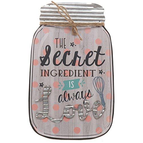 "Barnyard Designs The Secret Ingredient is Always Love Mason Jar Wall Decor Sign, Vintage Primitive Country Decor 14.25"" x 8.5"""