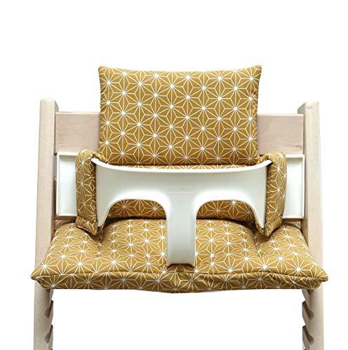 Blausberg Baby - BESCHICHTET - hochwertiges Tripp Trapp Sitz-Kissen Set für Stokke Hochstuhl - 2-teilige Auflage/Polster/Sitzverkleinerer für Kinderhochstuhl – DIVERSE FARBEN (Happy Star Senf-Gelb)
