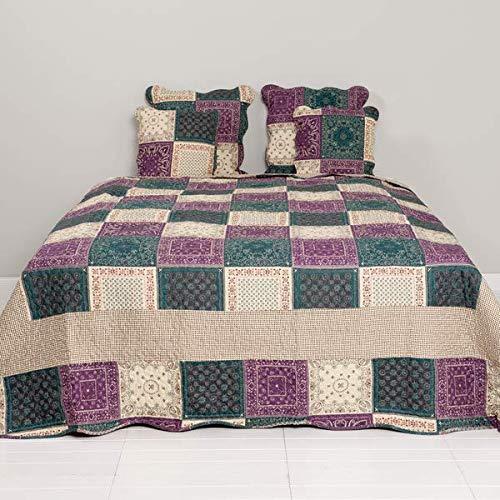 Unbekannt Tagesdecke Patchwork Stil Quilt aubergine 180 * 260