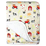 Modern Baby Stroller Blankets for Baby Boy Plush Warm Farm Sherpa Blanket