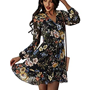 Women's Long Sleeve Bohemian Floral Printed V-Neck Flowy Casual Mini ...