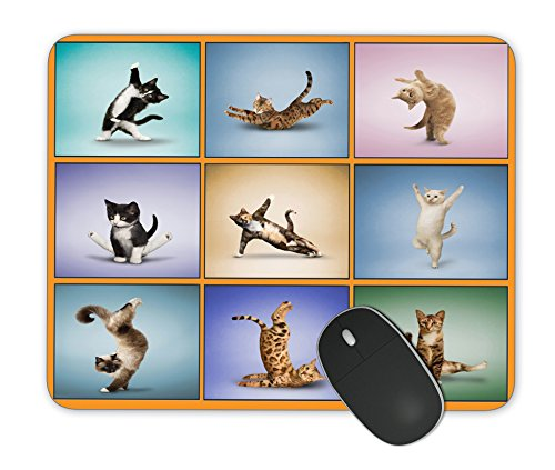 Kieona Smith Yoga Cat Mouse Pad Design Personalized Unique Surface Natural Rubber Anti Slide Mouse Pad Gaming Mouse Pad Mouse Pad