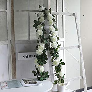 WEFOUND 2 x 200cm Artificial Ranunculus Blossoms Hanging Rattan Garland Wreath Fake Flower Vine Leaf for Home Party Garden Fence Wedding Christmas Decoration (White)