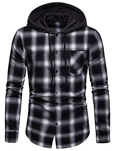 WHATLEES Herren Kariert Kapuzenpullover Flanellhemd mit Kapuze Karohemd Langarm Hemden Freizeithemd BA0245-Black-L