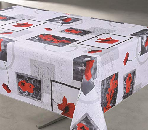 Les Jolie tafelkleed, Provençal, rechthoekig, vuilafstotend, 145 x 200 cm, Passion, wit