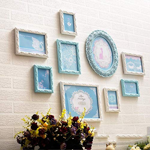 Wand-fotolijstjes wandgalerij kit, Europese fotowand, glazen houten frame, decoratie voor de woonkamer gang muur collage display 9 stuks (kleur: blauw) blauw + wit