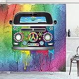 ABAKUHAUS Duschvorhang, Old Timer Hippie Wagen mit Regenbogen Farben Mitte der 60er Jahre T1 VW ALS Digital Bunt Druck, Blickdicht aus Stoff mit 12 Ringen Waschbar Langhaltig Hochwertig, 175 X 200 cm