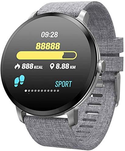 Smart Watch 1 3 Zoll Bildschirm Fitness Tracker Sport Schrittzähler Armband Custom Dial Nachricht Push Smart Reminder IP67 Wasserdicht 110mAh Grau Leinen/Silikon