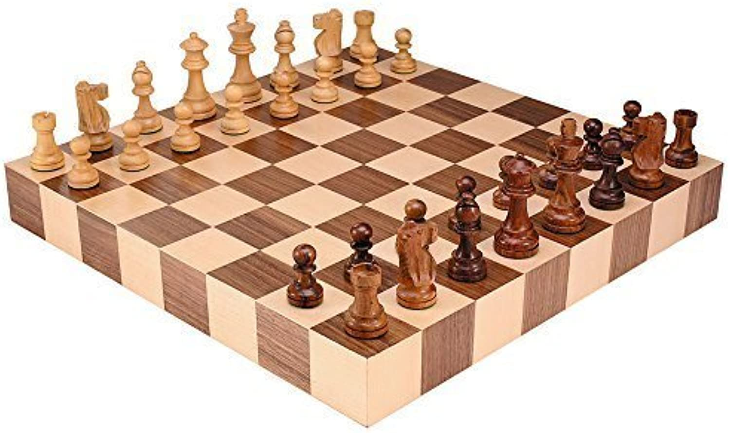 Athena Tournament Chess Inlaid Wood Board Game with High Quality Weighted Wooden Pieces - 18 Inch Set by Best Chess Set