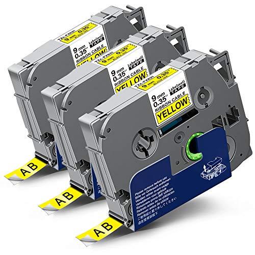 3x Labelwell 9mm x 8m Sostituzione Nastro Compatibile per Brother Tz TZe-FX621 TZeFX621 Flessibile Nero su Giallo per Brother PT-1010 PT-1000 PT-H110 PT-H101C PTH105 PT-2030VP PT-P750W PT-E100