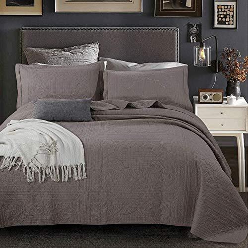 100% algodón Colcha Edredón acolchado Manta de aire acondicionado de retazos simple Edredón Funda de cama Textiles para el hogar 3 piezas Cobertor Fundas de almohada Juego de ropa de cama, Marrón-Quee