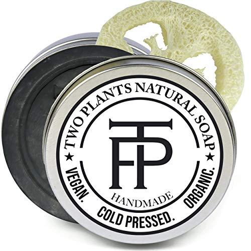 [SALE] Naturseife Black Onyx | Vegane Seife für Männer | Männerseife | Aktivkohle Seife Gesicht | Gratis Seifenbox + Seifenablage | von Two Plants