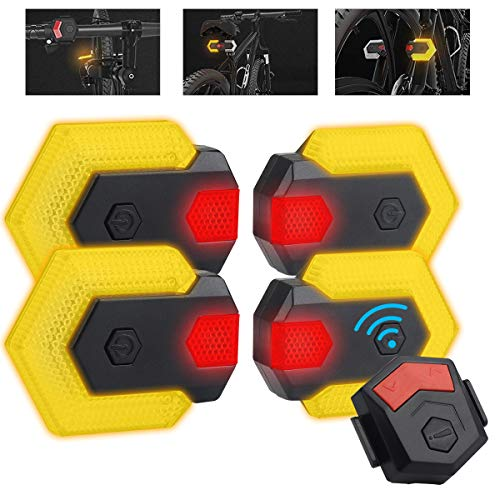 CarryBright Bike Tail Lights Turn Signal for Front and Rear Bicycle Safety, Wireless and Rechargeable LEDs with Remote