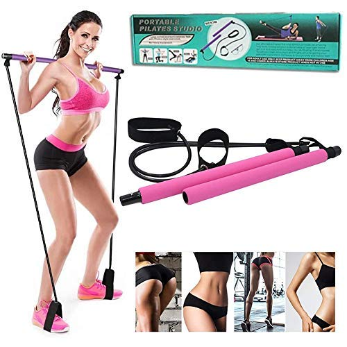 Xuers Pilates Bar Kit for Home Gym Workout, Portable Exercise Resistance Band with Foot Loop, Yoga Pilates Stick Exercise Bar for Indoor Yoga Muscle Stretch Body Shape for Women MenPink