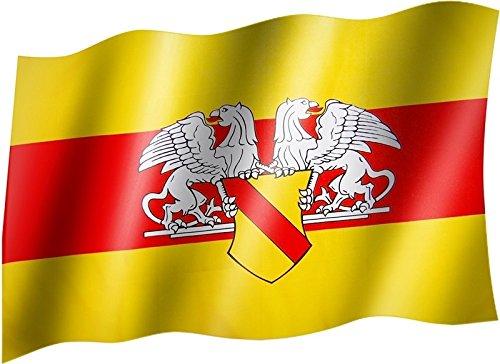 Sportfanshop24 Flagge/Fahne Baden mit Wappen Staatsflagge/Landesflagge/Hissflagge mit Ösen 150x90 cm, sehr Gute Qualität