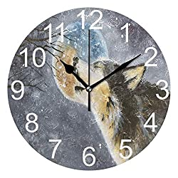 Wamika Cute Animal Howling Wolf Moon Round Wall Clock,9.5 Inch Battery Operated Quartz Analog Quiet Desk Clock for Home,Office,School