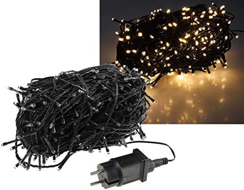 LED Lichterkette 40 Meter mit 400 LEDs I Schwarzes Kabel I Für Innen und Aussen | Spritzwassergeschützt IP44 | Warmweiß