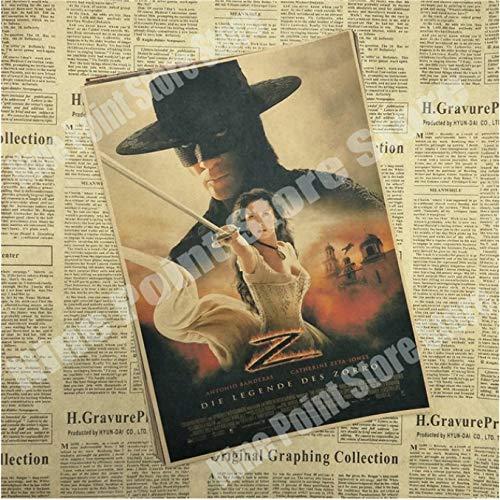wqmdeshop Cartel Vintage La Leyenda del Zorro Antonio Banderas Catherine Zeta Jones Legend Movie Poster Póster Retro Decoración del Hogar 50X70Cm (N: 3604)