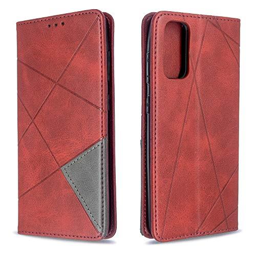 Docrax Galaxy S20 Handyhülle, Hülle Leder Case mit Standfunktion Magnetverschluss Flipcase Klapphülle kompatibel mit Samsung Galaxy S20 - DOBFE190260 Rot
