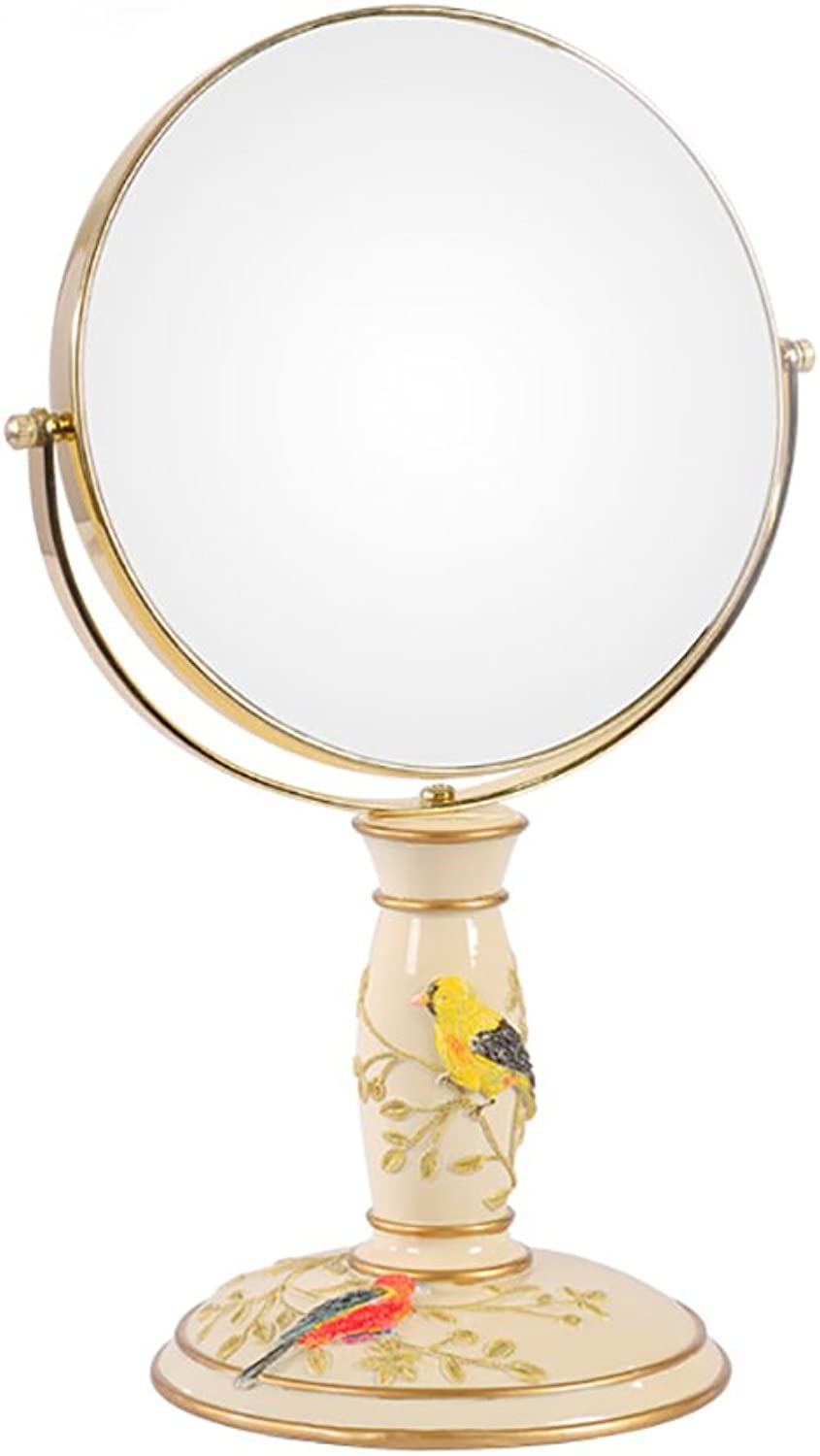 GUOWEI Mirror Double-Sided 360 redation 3X Magnification Desktop Gorgeous Vanity Makeup Yellow (color   Yellow, Size   19x19cm)