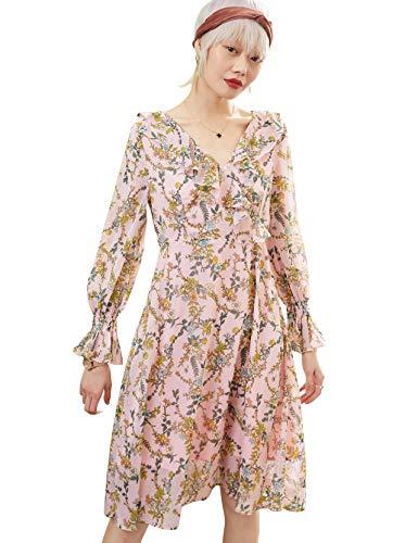 Elf zak dames wikkeljurk V-hals volants bloemenpatroon lange mouwen jurken vintage elegante bloemenjurk