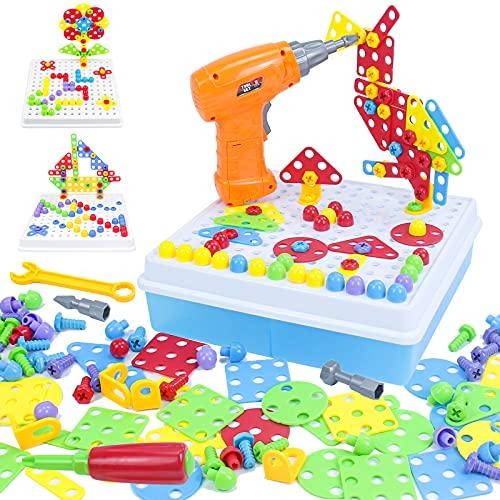 Juguetes Montessori Puzzles 3D Mosaicos Juguete Construcción Niños con Taladro Eléctrico Educativos Bloques Multiusos Infantiles Manualidades Herramienta Regalos para Niños 3 4 5 6 Años(193 piezas)