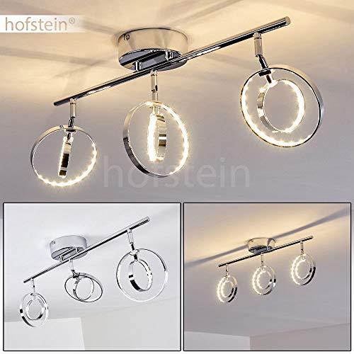 LED Deckenleuchte Ogoki, längliche Deckenlampe aus Metall in Chrom, 3-flammig, 3 x 4,5 Watt, 1200 Lumen (insgesamt), Lichtfarbe 3000 Kelvin (warmweiß), Leuchtringe sind beliebig drehbar
