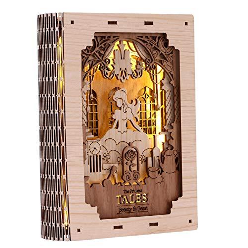FunColl Puzzle de madera 3D, luz nocturna, libro de cuentos de hadas, belleza y la Bestia, hora de acostarse, para escritorio, luz nocturna para adultos y jóvenes, luz suave