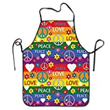 HiExotic Grembiule Cucina Chef,Eco-Friendly Heart Peace Symbol Flower Power Political Hippie Cheerful Colors Festival Joyful Adjustable Bib Apron Waterdrop Resistant Cooking Kitchen Aprons for Women M