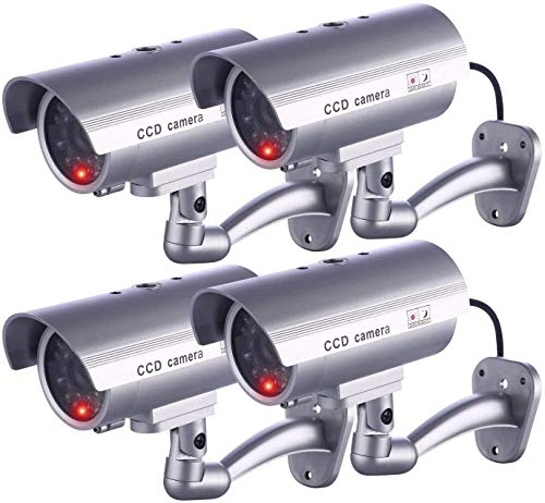 IDAODAN Dummy Security Camera, Fake Cameras CCTV Surveillance System with Realistic Simulated LEDs for Home Security + Warning Sticker Outdoor/Indoor Use (4 Pack Grey)