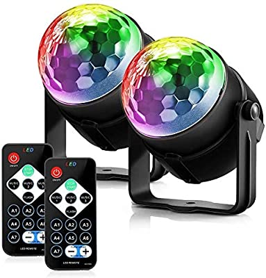 FIMEI Disco Lights, Stage Lighting Lamps, Mini Disco Ball LED Disco Lighting, 7 Colours RGB Lights Party Magic Lighting Effect for KTV Christmas Party Wedding Disco DJ-2 Pack (2 pack)