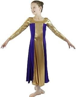 Danzcue Girls Metallic Color Block Long Sleeve Praise Dance Dress