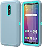 ComoUSA Compatible with LG Stylo 5 Case, LG Stylo 5 with HD Screen Protector [2 Packs], Heavy Duty Hard Shockproof Armor Protector Case [Military-Grade] for LG Stylo 5, (Gray-SkyBlue)