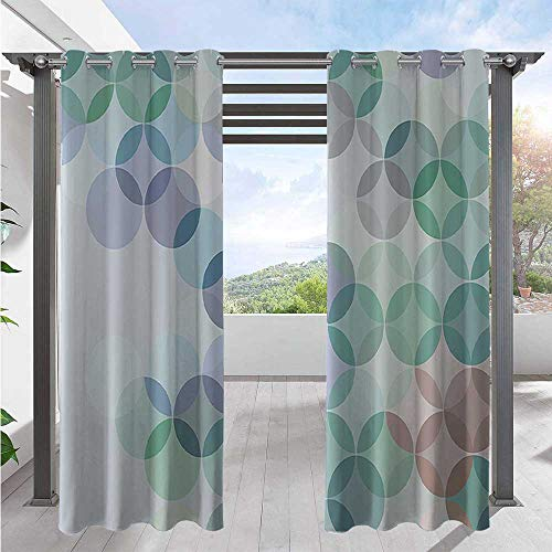 Patio Curtain Stylized Circles Curvy Square Shapes Dots Halftoned Pastel Colors Waterproof and Light Blocking Drapes for Proper Look and Fullness Mint Green Purplegrey White W84 x L96 Inch