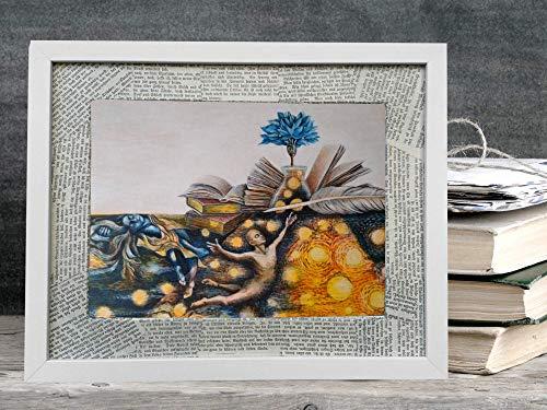 Geschenk für Leseratten, Brieffreundinnen und Schriftsteller: Kunstdruck mit Büchern, Tinte, Feder und der blauen Blume der Romantik