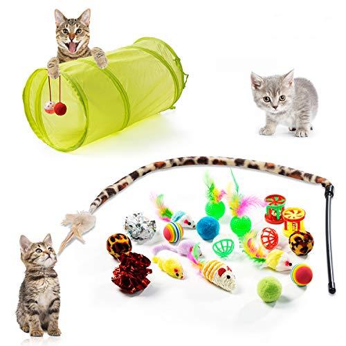 ZWOOS 21 Pezzi Giocattoli per Gatti Interattivi, Giochi per Gatti Accessori Tunnel per Gatti, Giocattoli per Gatti Bacchetta, Giochi per Gatti in Casa
