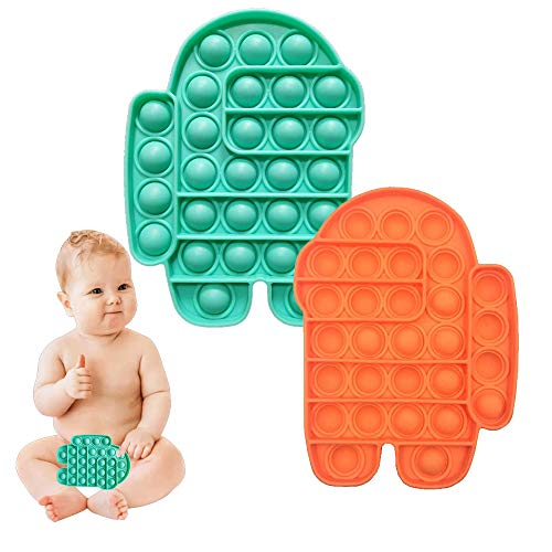 ZNNCO Among in Us Push Popping Bubble, Push Pop Bubble Sensory Toy, Stress Relief and Anti-Anxiety Toy (Green+Orange)