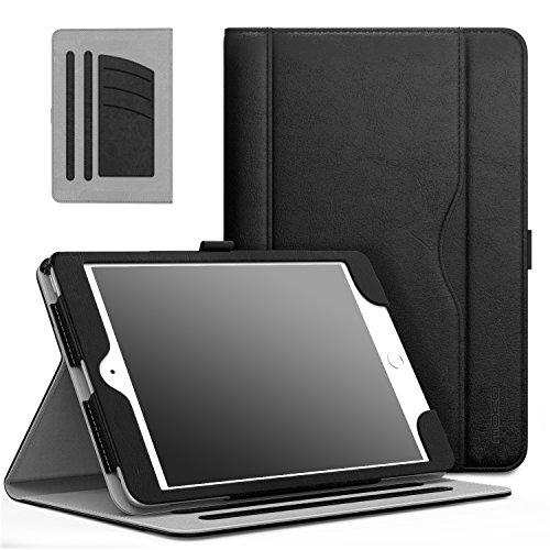 MoKo Hülle für iPad Mini 3/2 / 1 - Kunstleder Ständer Tasche Schutzhülle Smart Case Cover mit Dokumenteschlize Karte Slot & Standfunktion für Apple iPad Mini 3 / Mini 2 / Mini 1. Gen, Schwarz